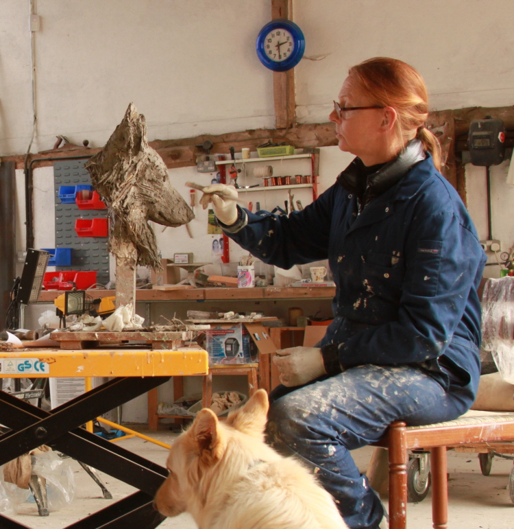Sculptor Kate Denton at Lavenham Hall Gallery, Lavenham