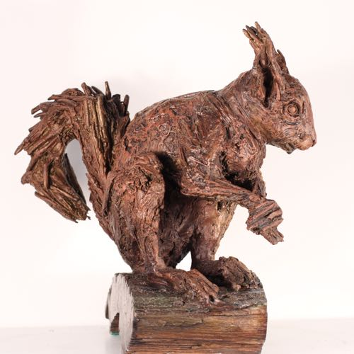 Tough-ty the Red Squirrel in Bronze by Kate Denton