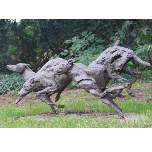 Gambolling Greyhounds a bronze sculpture by Kate Denton