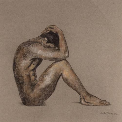 Introspection a pastel drawing by Kate Denton part of the Icarus Series