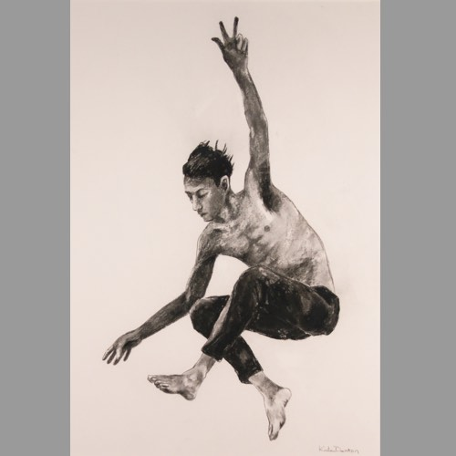 Freedom a charcoal drawing by Kate Denton part of the Icarus Series
