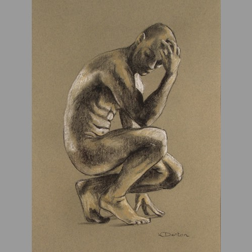 Male Study a drawing by Kate Denton part of the Icarus Series
