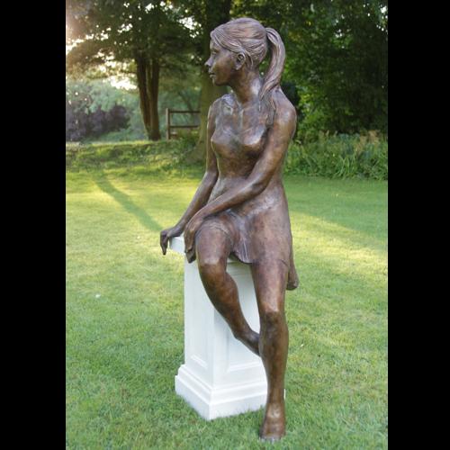 Girl In Polka Dot Dress Garden Sculpture by Kate Denton
