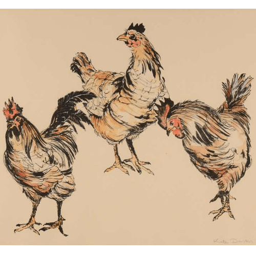 Hens a lithograph by Kate Denton