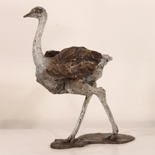 In Flight an Ostrich in bronze by kate Denton