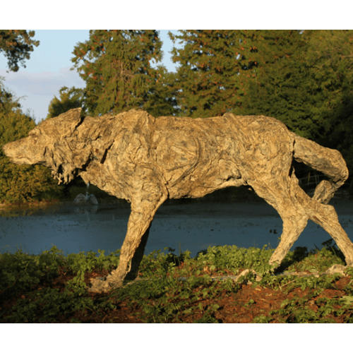 Wolf by Kate Denton a bronze garden sculpture