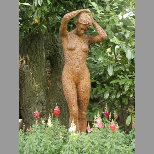 Zoe a garden sculpture in bronze by Kate Denton