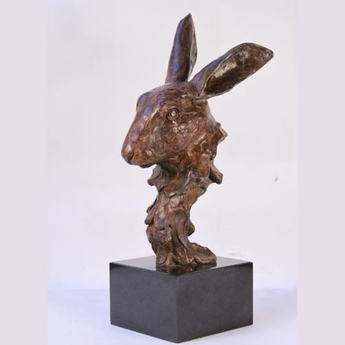 Hare's Head Bronze sculpture by Kate Denton