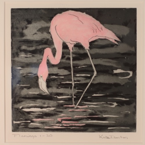 Flamingo a drawing by Kate Denton